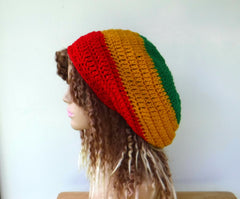 Rasta colors slouchy hat dreadlocks beanie women men smaller Irie Jamaica dread tam hat slouchy beanie hat