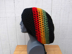 Black Cotton Slouchy Beanie, Wide Hippie Dreadlock Hat, Dread Tam, men or women Slouch Beanie
