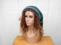 Very Long Slouchy Hat, Dreadlocks Sock Tam Hat, Slouchy Beanie Women Green Turquoise Red Variegated