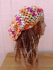 Bright cotton slouchy beanie small dread tam hat summer beanie