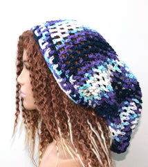 xlong Cotton slouchy beanie Hippie Dreadlock Snood, purple blue white Slouch Beanie, rasta tam hat, woman beanie hat, sock tam