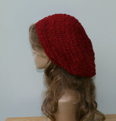 Chili Red Slouchy Beanie Hippie Hemp Wool Tam hat small Dread Tam, Beret Hat natural Handmade
