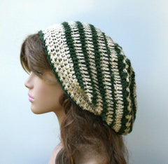 Dread Tam or slouchy beanie in natural green Hemp Wool Hippie Dreadlocks Tam Hat women men