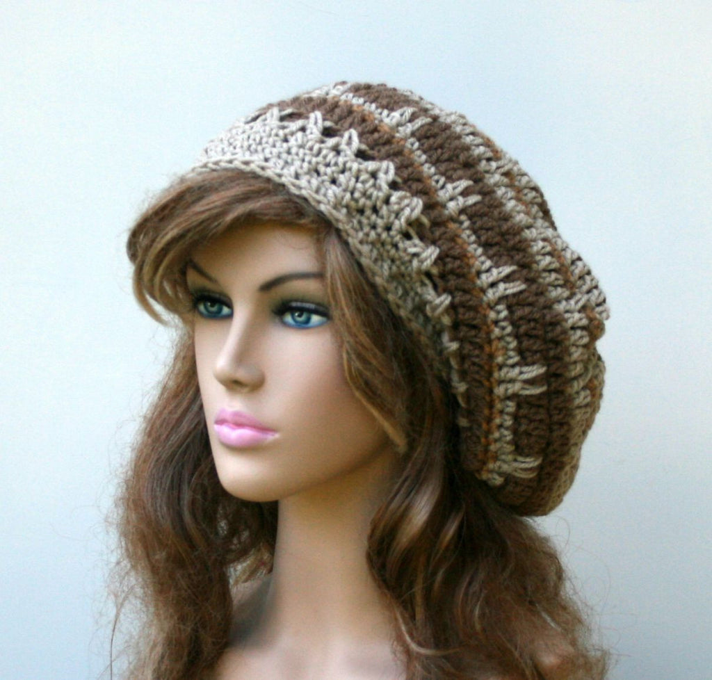 Brown tan slouchy beanie, smaller dread tam, beret hat, men hat, woman beanie