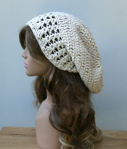 Natural cotton Dread Tam Slouchy beanie Dreadlocks Hat ecru