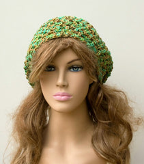 Spring Green Slouchy Beanie, Snood Hat small Dread Tam hat, cotton blend Bohemian Handmade hat