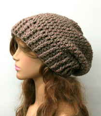 Woman Slouchy beanie, camel with rose pink blush metallic thread, lurex beanie, slouch beanie