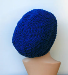 Sapphire blue crochet handmade Dread Tam Hippie Bohemian Slouchy Beanie Tam Hat women or men