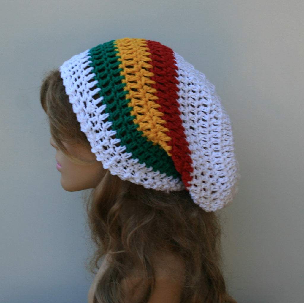 White Jamaica colors cotton and hemp blend slouchy beanie smaller dreadlock hippie tam hat