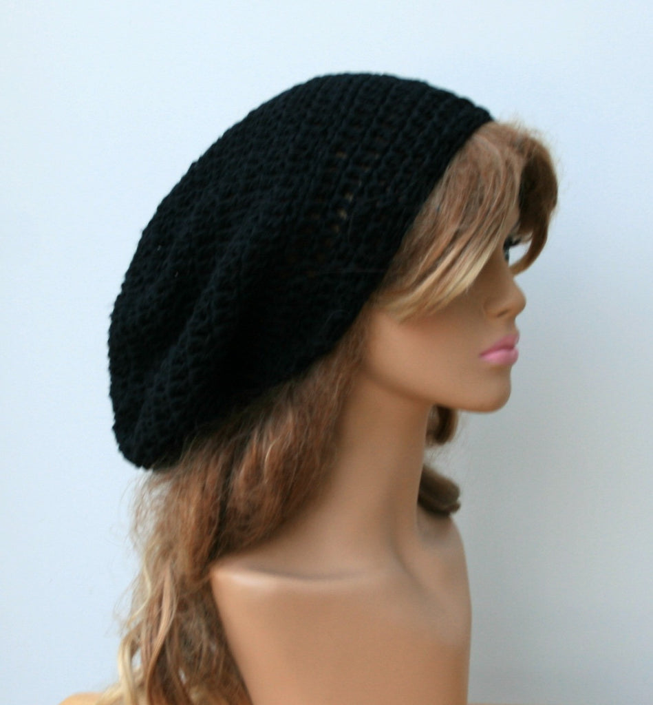 Slouchy Beanie cotton black Tam Dreadlocks hat, Hippie Beanie Hat, Bohemian woman or man beanie