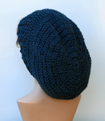 Dark gray/blue cotton Dread Tam Slouchy beanie Dreadlocks Hat charcoal slate