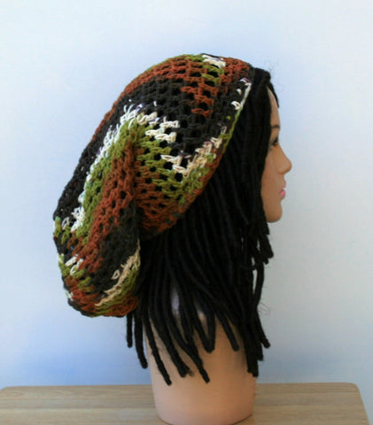 Earthy Woodlands Cotton slouchy beanie, Long Hippie Dreadlock Snood, Dread Tam, men or women Slouch Beanie