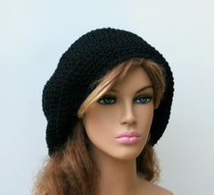 Black Cotton Artist Beret Tam Dreadlocks Hippie Dread Slouchy Beanie Hat,slouchy hat, man beret