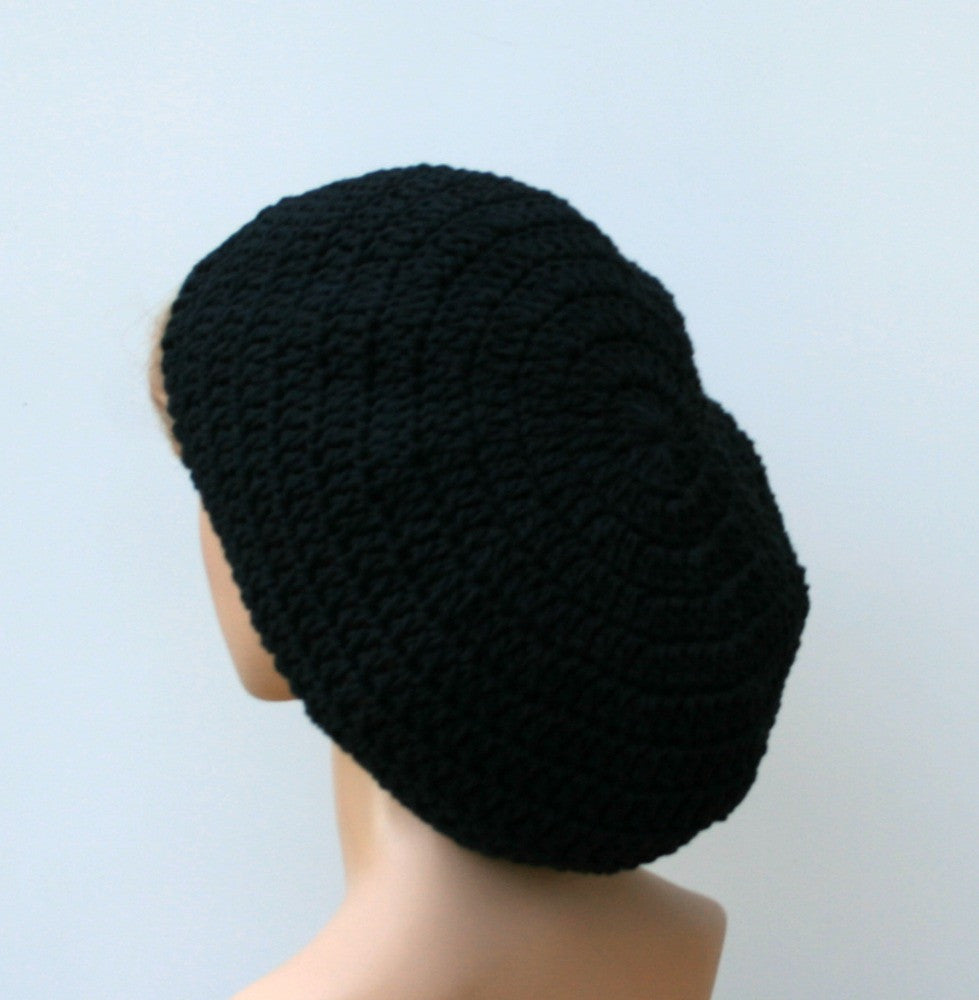 6e95549759147 Black Cotton Artist Beret Tam Dreadlocks Hippie Dread Slouchy Beanie ...