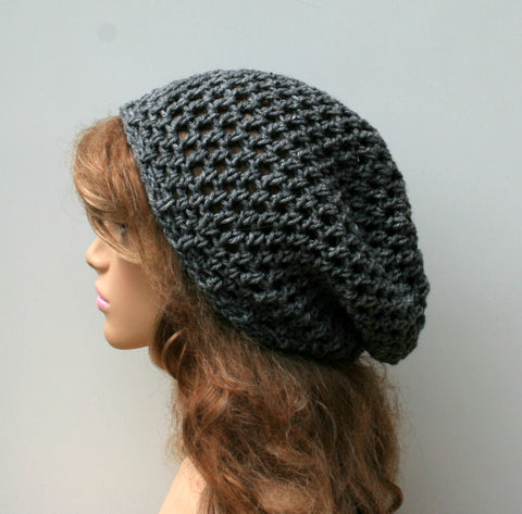 Heather gray snood slouchy beanie, hippie beanie small tam hat, open weave summer beanie