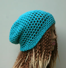 Soft turquoise slouchy beanie hat, small Dread Tam hat, summer Slouchy Beanie, Hippie Snood Hat women slouch hat