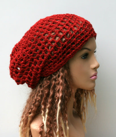 Summer beanie in chili red hemp wool snood small tam slouchy beanie hat handmade