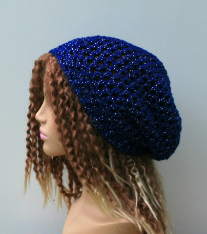 Soft lurex summer slouchy beanie hat, royal blue metallic small tam hat hairnet snood evening party glitzer