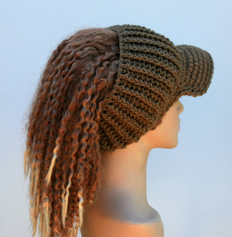 Latte brown Ponytail hat, Visor Dread Tube cap, billed dread tube, dread band, open back beanie
