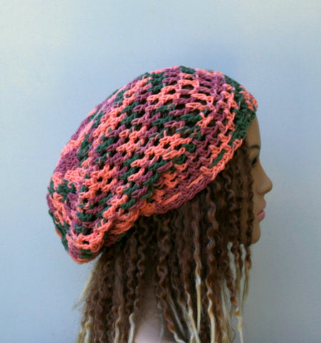 Coral reef cotton slouchy beanie, dread tam hat summer beanie
