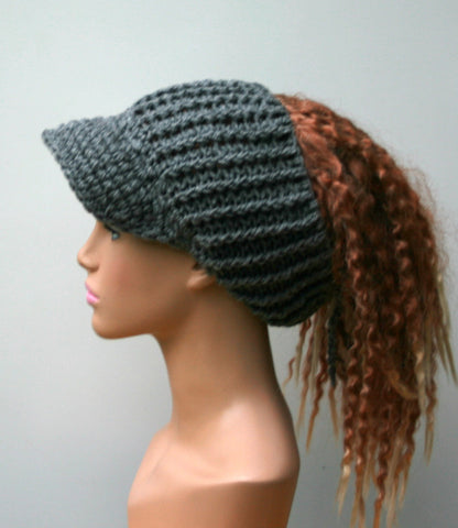Heather gray Ponytail hat, Visor Dread Tube cap, billed dread tube, dread band, open back beanie