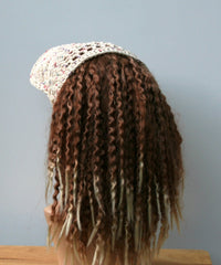 Cotton summer Ponytail hat, Visor Dread Tube cap, billed dread tube, dread band, open back beanie