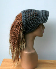 Open stitch custom color Ponytail hat, Visor Dread Tube cap, billed dread tube, dread band, open back beanie