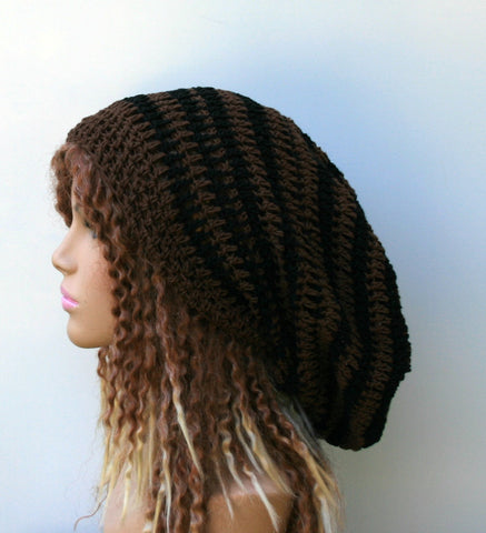 Black brown slouchy cotton beanie hat or longer dread tam men women