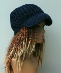 HANDMADE dark denim blue Ponytail hat, Visor Dread Tube cap, billed dread tube
