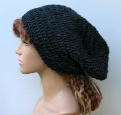 Charcoal or black slouchy beanie, dark gray or black hemp wool hat, grey slouch beanie hat, dreadlock hippie tam hat handmade in crochet