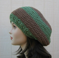 Handmade slouchy hat, smaller dread tam hat, women men slouchy beanie green brown