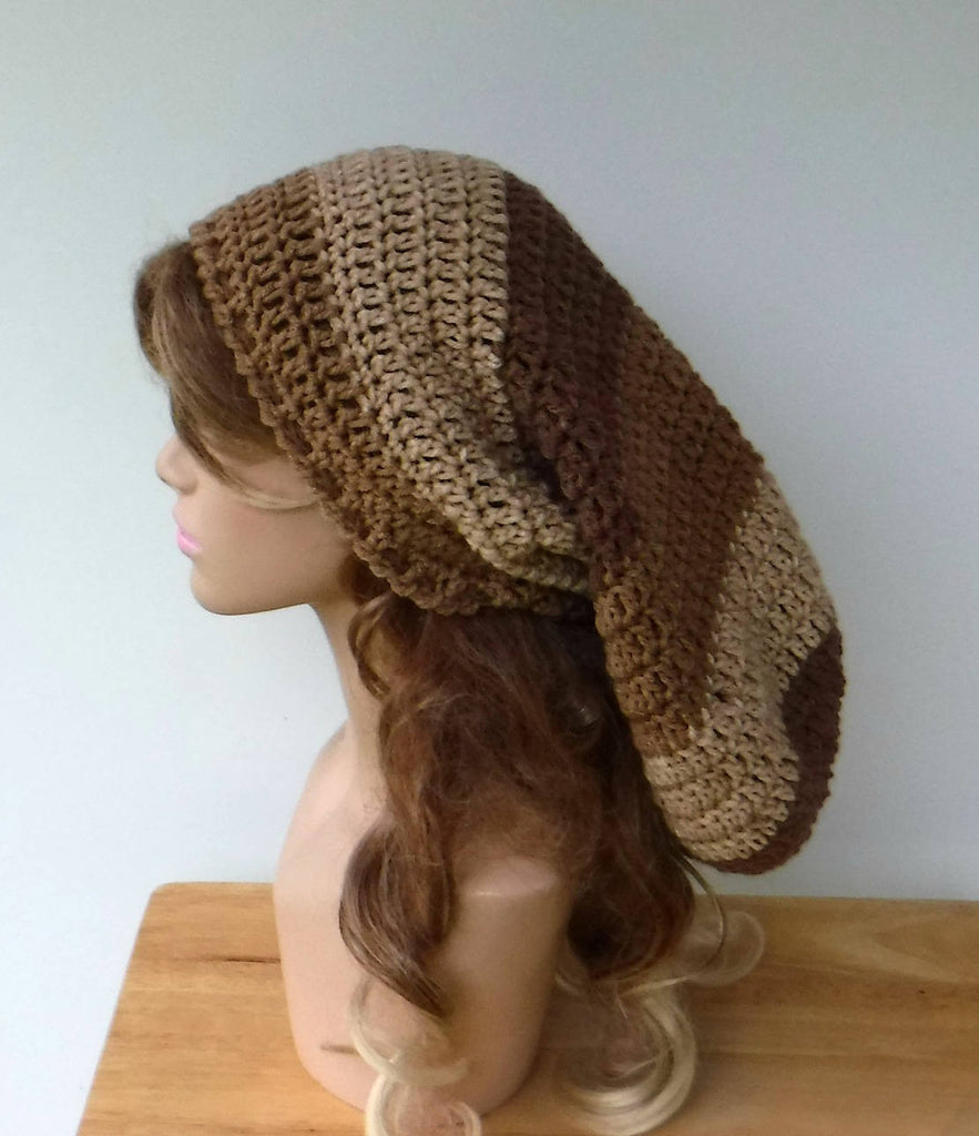 Long Dread tam hat, dreadlocks hat, handmade dreadlocks sock hat, slouchy beanie, dreads beanie/caramel beige brown