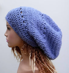 Periwinkle slouchy large Tam Dreadlock Hippie Beanie Dread Hat handmade crochet light purple long beanie