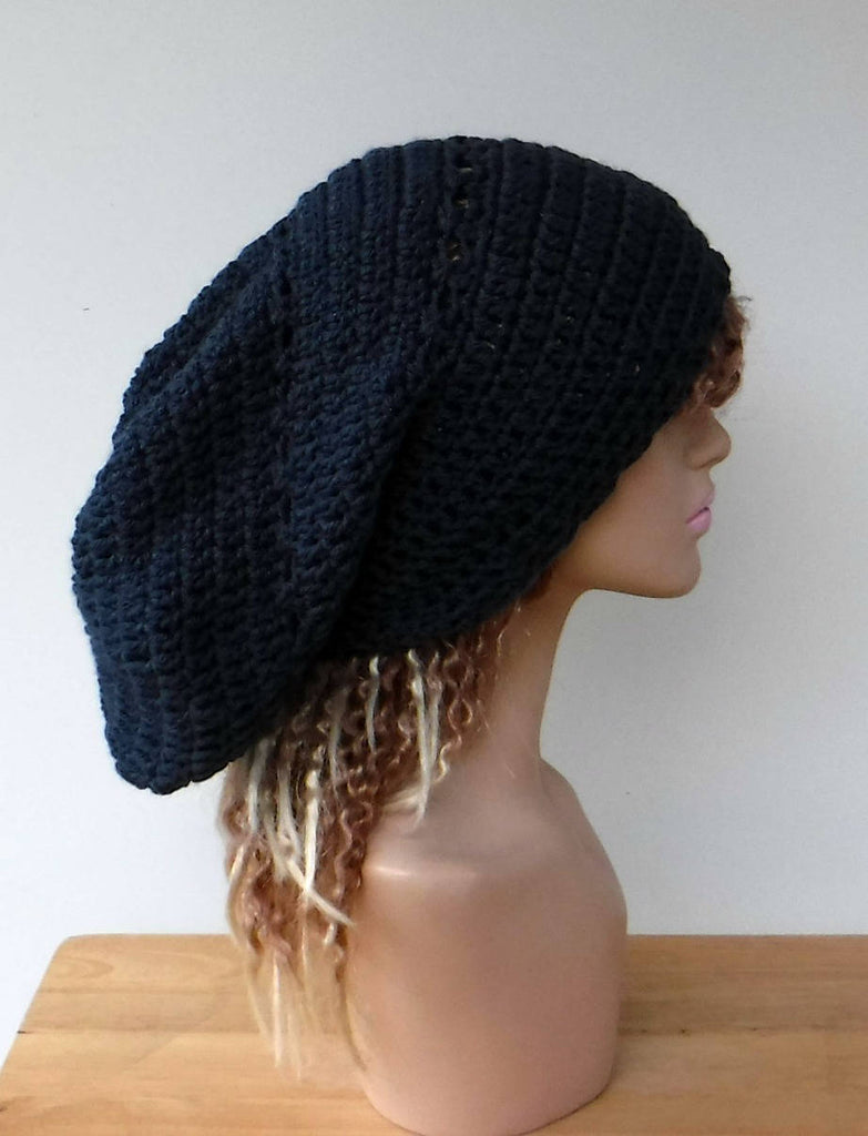 Dark denim blue slouchy large Tam Dreadlock Hippie Beanie Dread Hat handmade crochet unisex