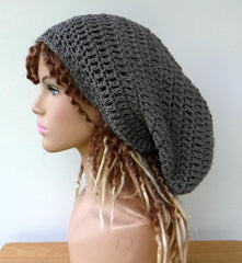 Stormy Grey Cotton Slouchy Beanie Loner Dreadlocks Dread Tam Hat men or women