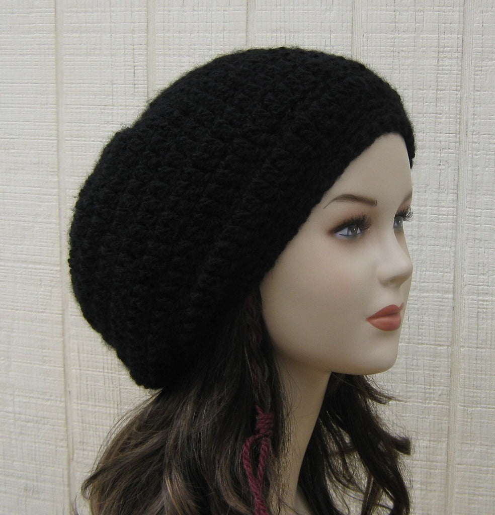 Soft Black Slouchy Beanie, small dread tam, woman slouch hat, warm beanie hat, baggy hat, thick beanie hat