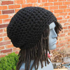 Woman or man black hat, slouchy beanie, black staple beanie, Hippie Dreadlocks snood hat, small Dread Tam hat