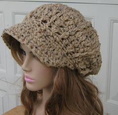 Newsboy hat, Tan Rustic Tweed Cap, Visor Tam Hat, Slouchy Beanie hat, Newsboy Beanie Billed hat, crochet cap