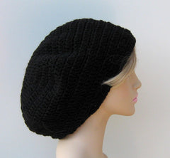 Black WOOL Tam Hat Hippie Slouchy Beanie dread beret men women