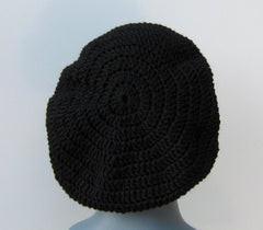 Unisex Black WOOL Tam Hat Hippie Slouchy Beanie dread beret men women