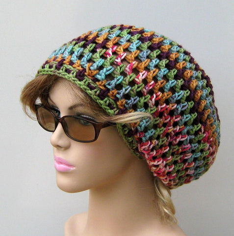 Stretchy Northern Lights slouchy beanie, smaller Dread Tam hat, Slouchy Beanie Hippie Snood Hat