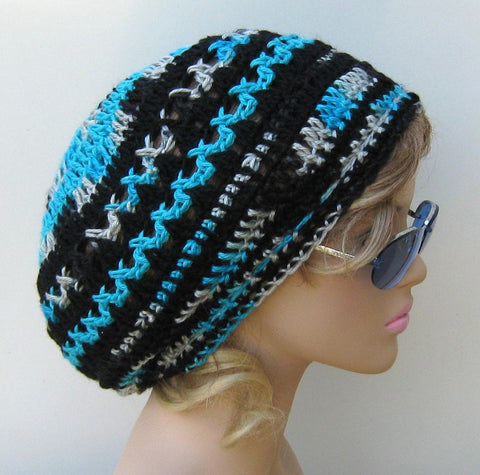 Soft Turquoise Onyx Soy hemp wool Dread Beret Slouchy Beanie Hippie Tam Hat Black Silver