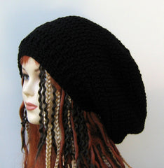 Black Wide Crown Slouchy large Tam Dreadlock Hippie Beanie Dread Hat