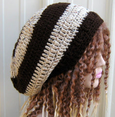Brown Beige Tweed Hippie Dread Tam slouchy beanie hat handmade