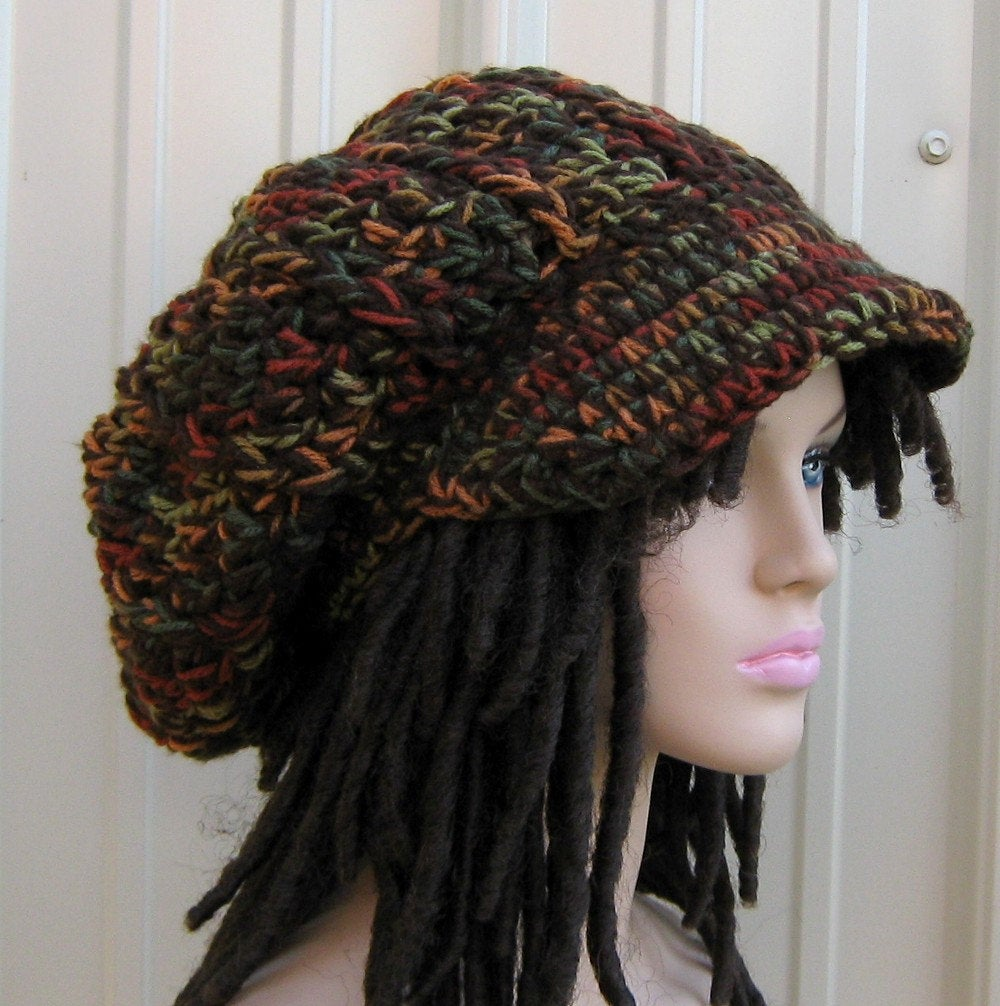 Fall colors Newsboy Cap, Visor Dread Tam Hat, Hippie Slouchy Beanie cap hat, man, woman