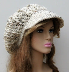 Rustic Visor Tam Hat Hippie Slouchy Newsboy Beanie Billed aran Tweed Cap