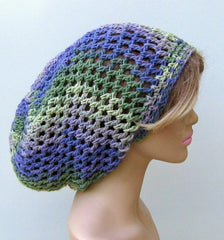 Purple Green Cotton Slouchy Beanie or Dread Tam Handmade Dreadlocks Hat