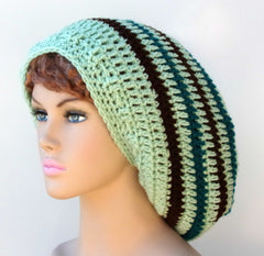 Honey Dew green teal brown stripes Long Dread Tam Hippie Slouchy Beanie Tam Hat