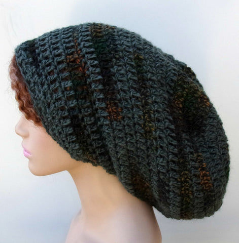 Pine Green Gray Slouchy long Dread Tam men women Hippie Beanie Hat alpaca wool blend Dreadlocks