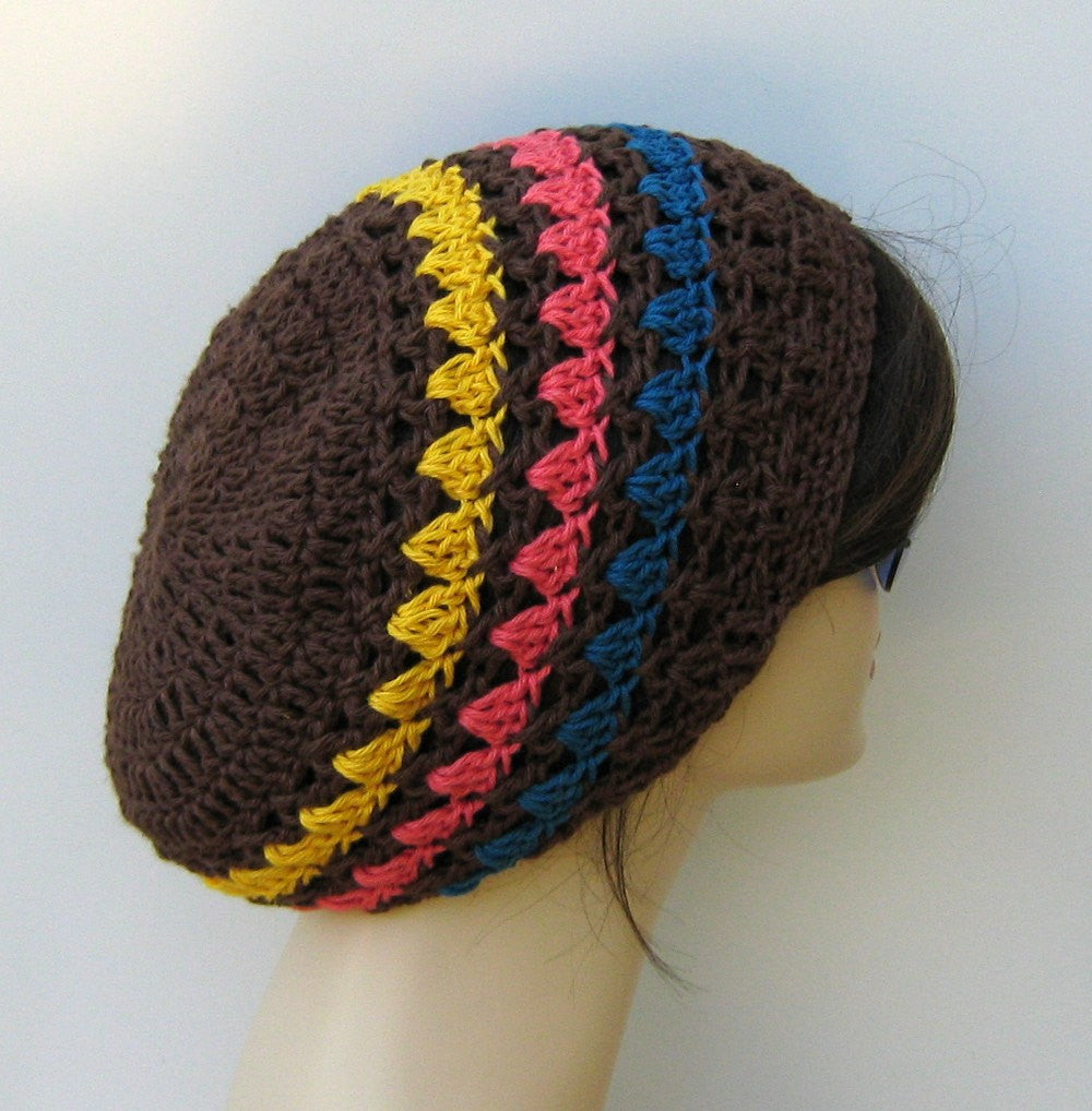 Handmade Hemp soy wool beanie striped hat slouchy beanie small tam hat  brown hat women summer d53dbf4b119